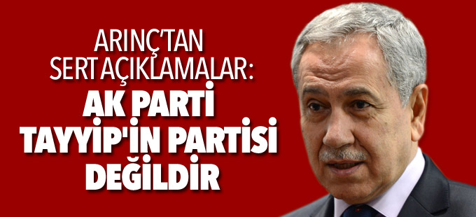 Arınç: AK Parti Tayyip'in partisi değildir