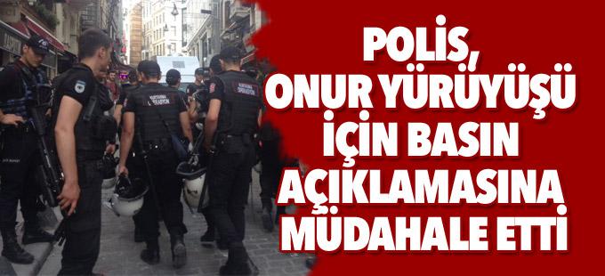 Polis, Onur Yürüyüşü için basın açıklamasına müdahale etti