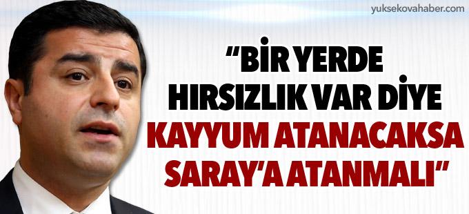 """Demirtaş: """"Bir yerde hırsızlık var diye kayyum atanacaksa Saray'a atanmalı"""""""