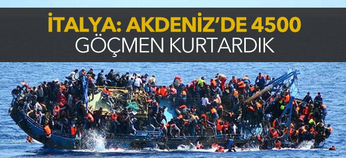 İtalya: Akdeniz'de 4500 göçmen kurtardık