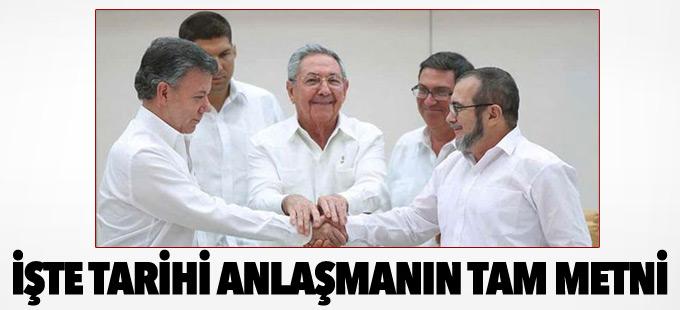 Kolombiya'daki barış anlaşmasının tam metni