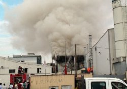 Halı saha çimi üreten fabrikada korkutan yangın