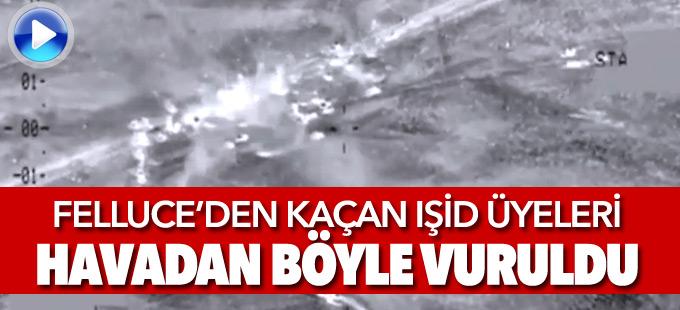Felluce'de vurulan 'IŞİD konvoyunun' görüntüleri