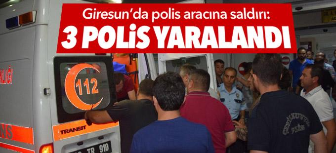 Giresun'da polis aracına saldırı