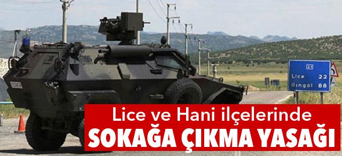 Diyarbakır'ın Lice ve Hani ilçelerinde sokağa çıkma yasağı