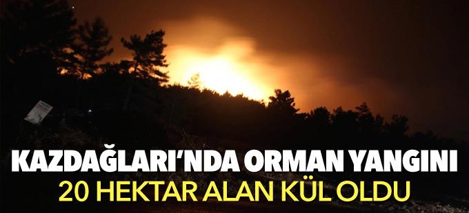 Kazdağları'nda orman yangını: 20 hektar alan kül oldu