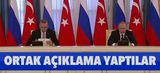 Erdoğan-Putin görüşmesinin ardından ortak açıklama yapıldı