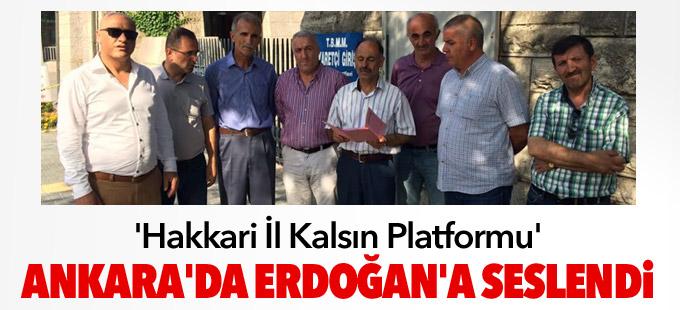 'Hakkari İl Kalsın Platformu', Ankara'da Erdoğan'a seslendi