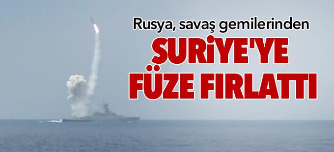 Rusya Akdeniz'deki savaş gemilerinden Suriye'ye füze fırlattı