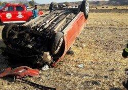 Malatya'da otomobil takla attı: 3 yaralı