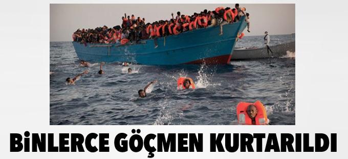 Libya açıklarında binlerce göçmen kurtarıldı