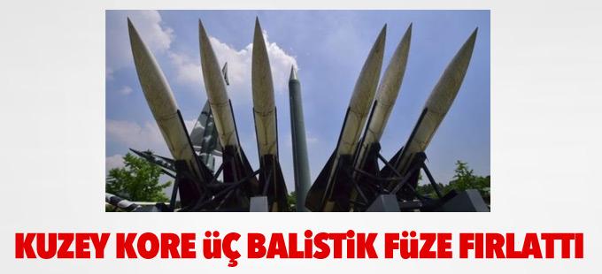 Kuzey Kore üç balistik füze fırlattı