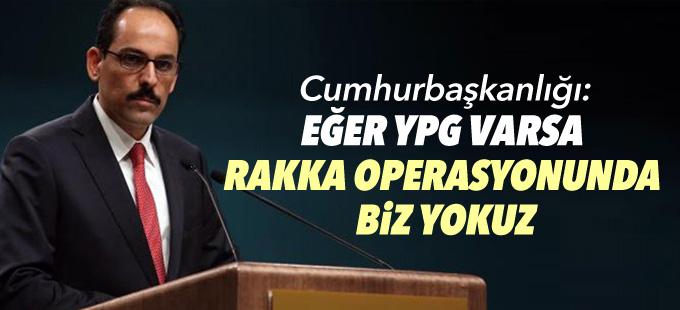 Cumhurbaşkanlığı: Eğer YPG varsa Rakka operasyonunda yokuz