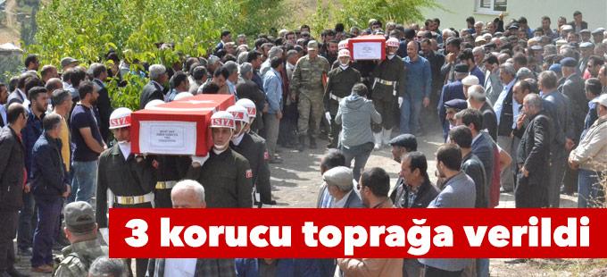 Yüksekova'da öldürülen 3 korucu toprağa verildi