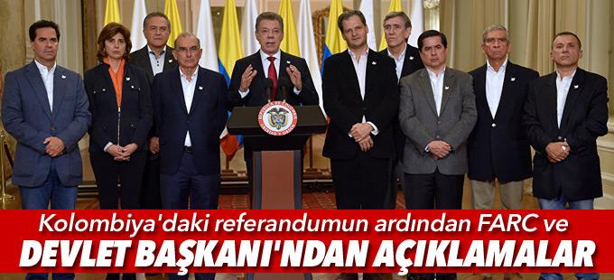 Referandumun ardından FARC ve Santos'tan açıklamalar