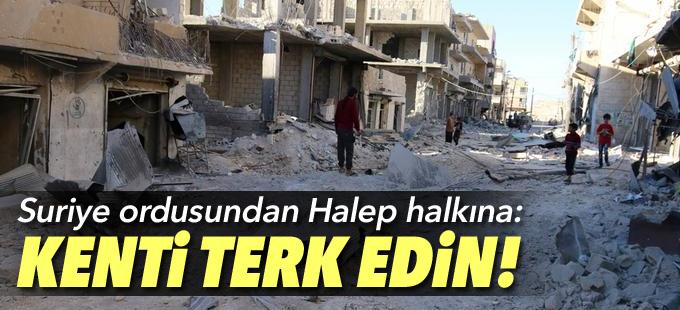 Halep'te halka kenti terk etme çağrısı