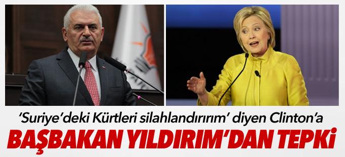'Suriye'deki Kürtleri silahlandırırım' diyen Clinton'a Başbakan'dan tepki