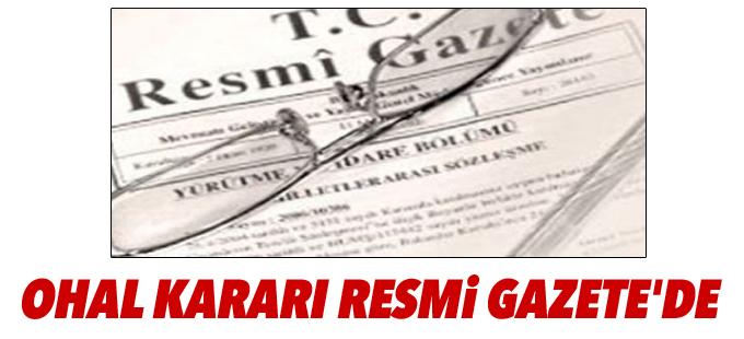 OHAL kararı Resmi Gazete'de