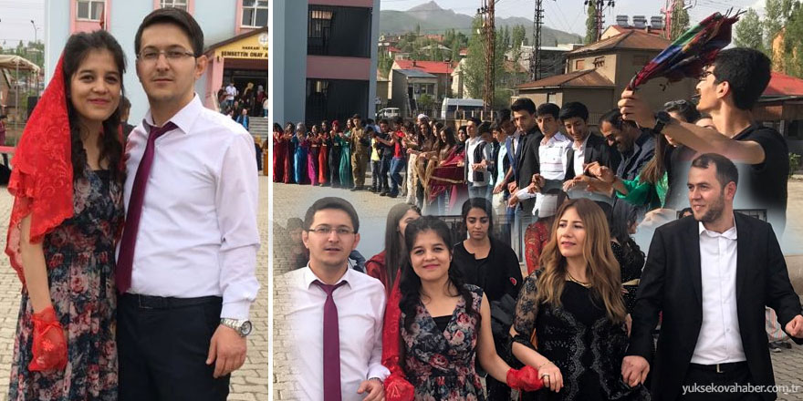 Yüksekova: Öğrenciler yıl sonu şenliklerinde Denizlili öğretmenlerine kına töreni düzenledi