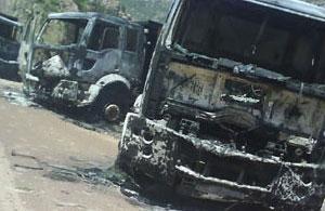 Bingöl'de 3 iş makinesi yakıldı